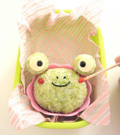 ママプレス森崎キャラ弁カエル雨