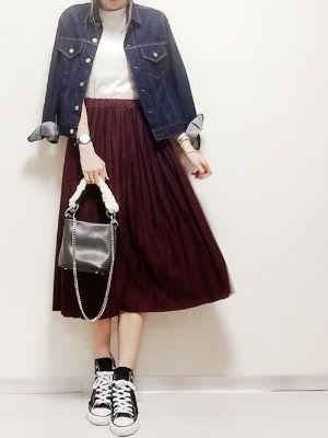 ママファッション プリーツスカート